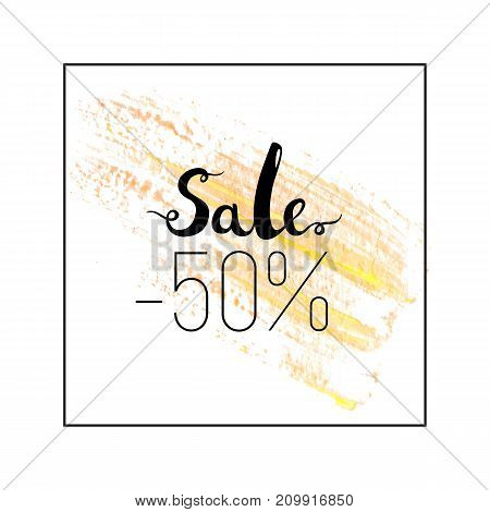 Sale sign over paint isolated on white background. Abstract texture acrylic brush stroke vector. Watercolor design with lettering.