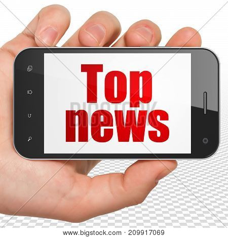 News concept: Hand Holding Smartphone with red text Top News on display, 3D rendering