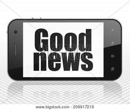 News concept: Smartphone with black text Good News on display, 3D rendering