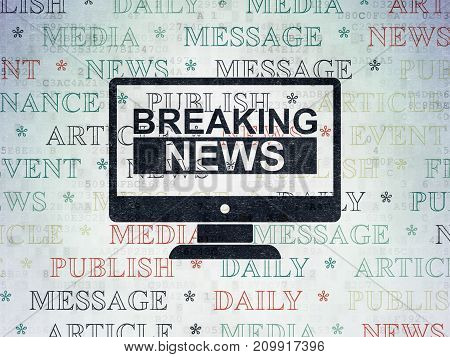 News concept: Painted black Breaking News On Screen icon on Digital Data Paper background with  Tag Cloud