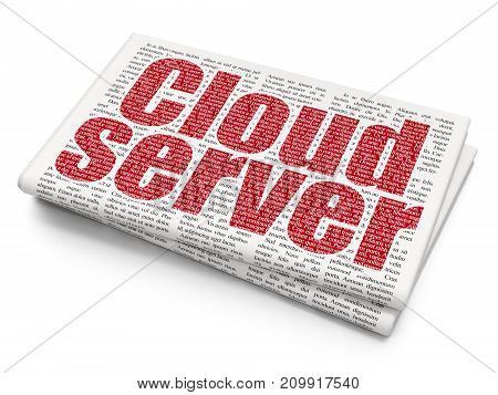 Cloud technology concept: Pixelated red text Cloud Server on Newspaper background, 3D rendering