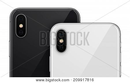 Smartphones back side closeup. New modern black and white smartphones back side with camera module isolated on white background.