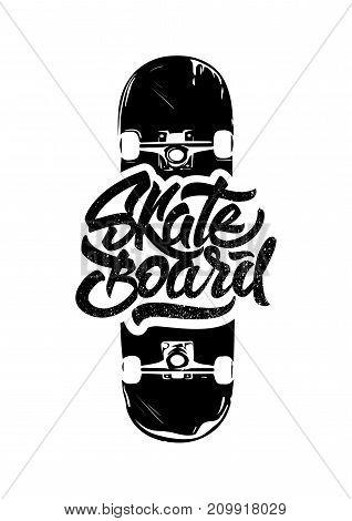 Black skate. Skateboard lettering for print on T-shirt