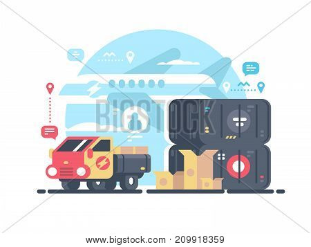 Transportation and logistics. Transport container by plane and truck. Vector illustration