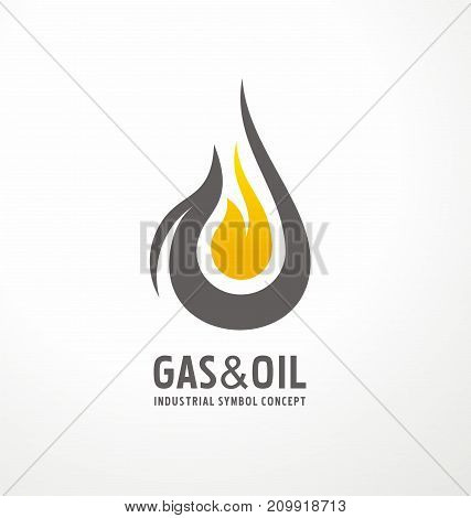 Gas and oil industrial logo design idea with oil drop and flame shape. Black and yellow logo concept for energy business.