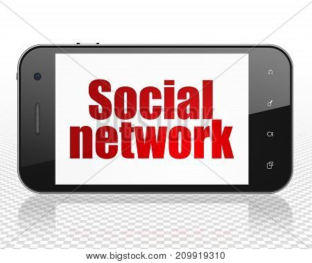Social network concept: Smartphone with red text Social Network on display, 3D rendering