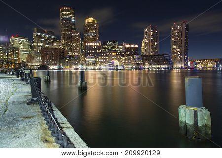 Boston, Skyline Of Boston's Financial District At Sunset