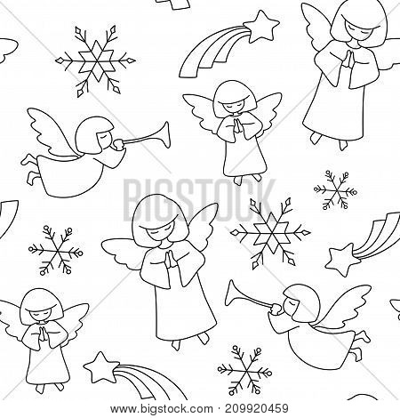 Christmas Pattern. Angels, Stars And Snowflakes