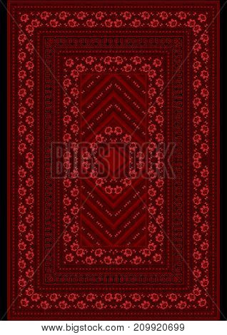 Carpet witha pattern red roses on the border and the middle on a burgundy background