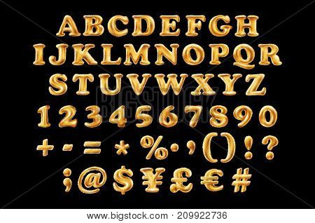 English Alphabetic Fonts And Numbers From Yellow Golden Font Balloons On A Black Background. Holiday