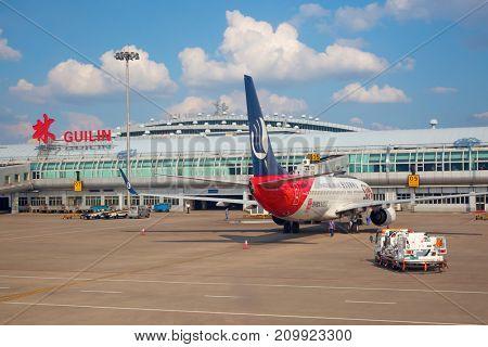 Guilin, China - October 02:  Planes preparing for take off at Guilin Airport on October 2, 2017 in Guilin, China.