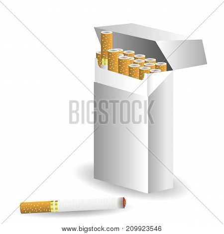 illustration with Cigarettes isolated on white background