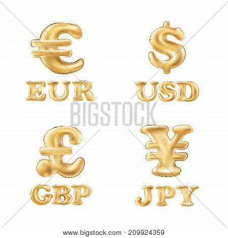 Vector Balloon Gold Dollar, Euro, Pound And Yen Currency Icons. Usd, Eur, Gbp And Jpy Money Sign Sym
