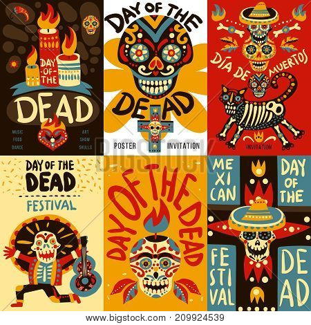 Day of dead mexican national festival symbols emblems 6 colorful banners set with skulls isolated vector illustration