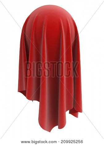 Sphere covered with red velvet cloth on white background. 3D illustration. Unveiling concept.