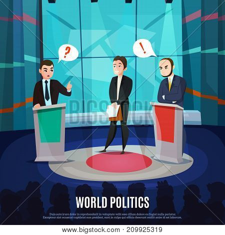 Two men in costumes discussing political questions in world politics talk show cartoon vector illustration
