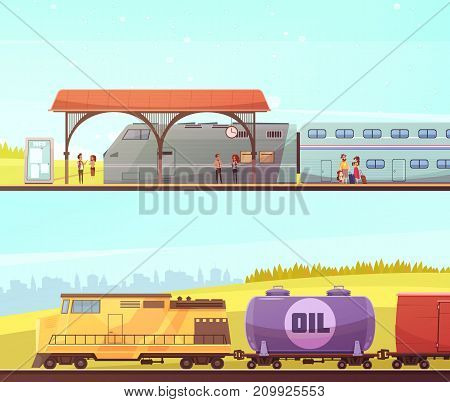 Railway two horizontal banners with passenger train people on station and freight train with oil tank flat vector illustration