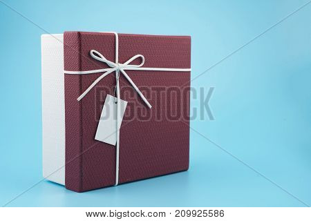 Gift Box  On A Blue Background.