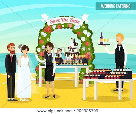 Wedding catering at seashore orthogonal flat composition with bride and groom, waiters, tables with food vector illustration