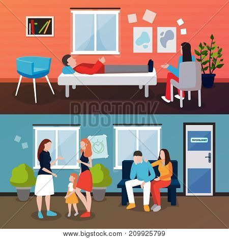 Psychologist counseling people compositions of patient and couch doctor human characters in living room interior environment vector illustration