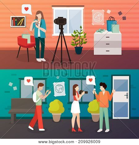 Bloggers people flat compositions set of two horizontal images with doodle style video blogger human characters vector illustration
