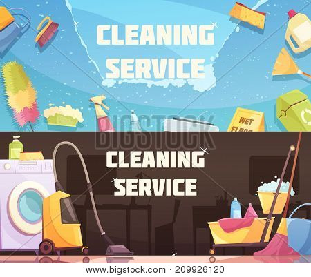 Cleaning service horizontal banners with set of cleaning agents tools and devices flat vector illustration