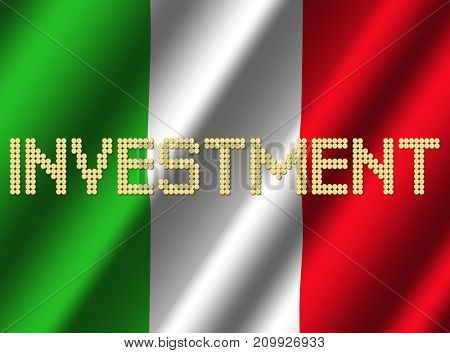 Investment text euro coins on rippled Italian flag 3d illustration