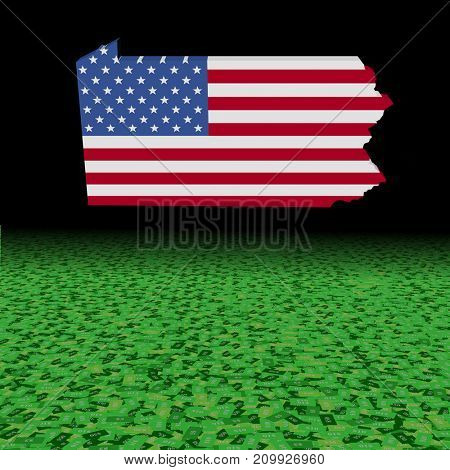 Pennsylvania map flag with abstract dollar foreground 3d illustration