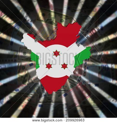 Burundi map flag on currency burst 3d illustration