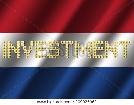 Investment text euro coins on rippled Dutch flag 3d illustration