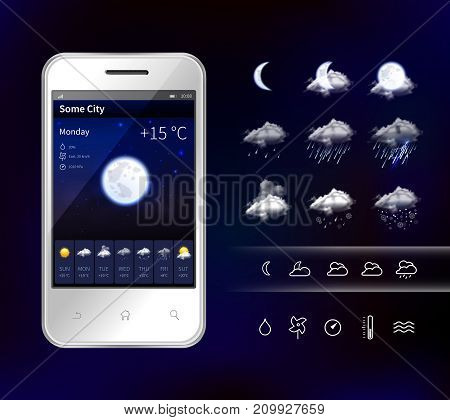 Smartphone weather app widgets with detailed hourly forecast accurate information service realistic image dark background vector illustration