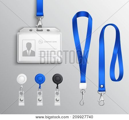 Employees identification card id badges holders with blue lanyards and strap clips realistic templates set isolated vector illustration