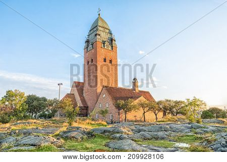 Masthugget Church (Masthuggskyrkan) - Monumental brick church atop a hill in Gothenburg Sweden