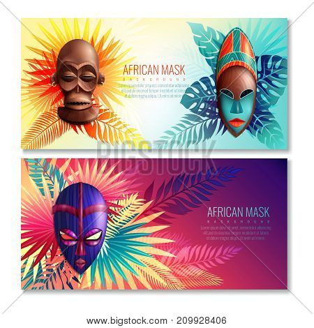 African horizontal banners set with colourful images of ethnic festive masks and leaves with editable text vector illustration