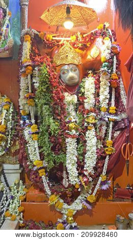 Idol of Lord Hanuman known as Hanuman ji in India. Hindu religious persons worship Lord Hanumanji all over India