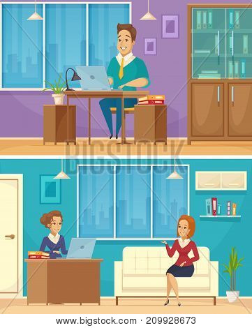 Office personnel work place 2 horizontal retro cartoon banners with coworkers engaged in conversation isolated vector illustration