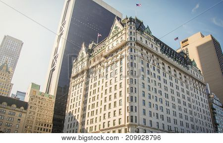 New York USA november 1 2016: facade of the famous Hotel Plaza in New York