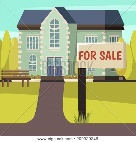 Colored autumn background with rural living house offered for sale with signpost in front   flat vector illustration