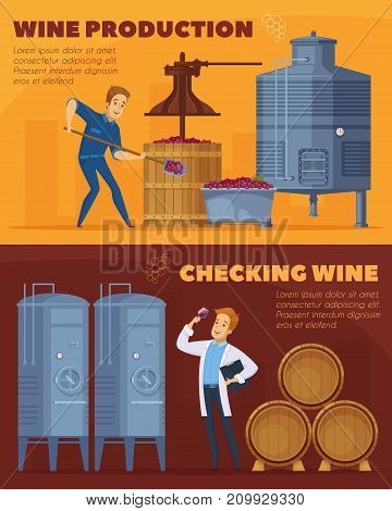 Wine production facility 2 cartoon horizontal banners set with grapes crushing pressing fermenting checking isolated vector illustration