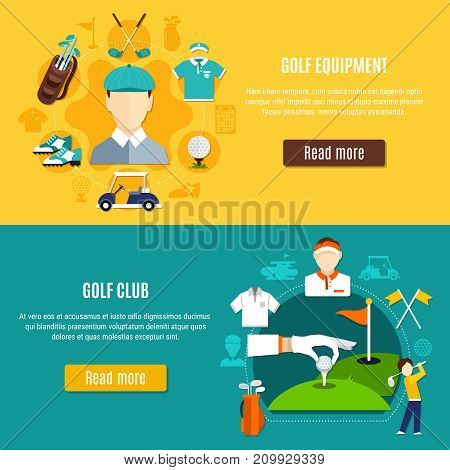 Golf horizontal banners with game equipment and sport club on blue and yellow background isolated vector illustration