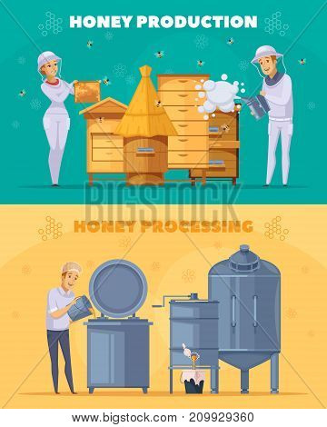 Apiary bee farm production 2 cartoon horizontal banners set with honey harvesting and pasteurization isolated vector illustration