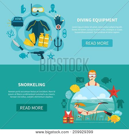 Set of horizontal banners with diving equipment and snorkeling on blue and turquoise backgrounds isolated vector illustration