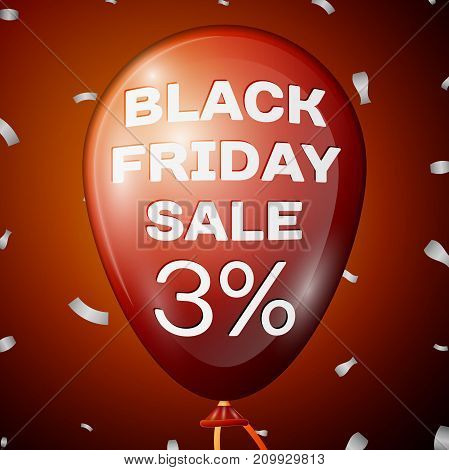 Realistic Shiny Red Balloon with text Black Friday Sale Three percent for discount over red background. Black Friday balloon concept for your business template. Vector illustration