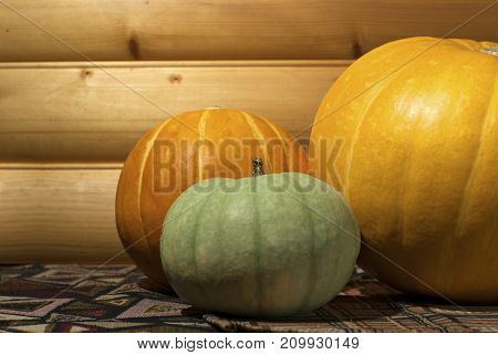 three different-colored pumpkins of different sizes on a table on a background of a log wall close-up