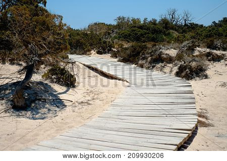 wooden walkway on the sand leading to the beach. No person visible