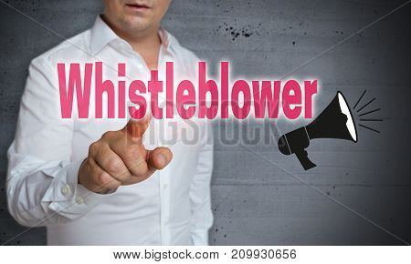 Whistleblower touchscreen is operated by man pictures