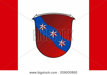 Flag of Erbach is a town and the district seat of the Odenwald district in Hesse Germany. Vector illustration