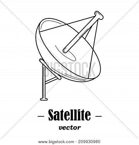 Vector logotype for satelite. Black illustration on white background.