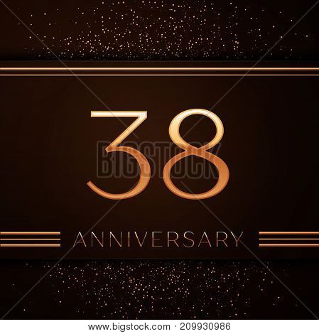 Realistic Thirty eight Years Anniversary Celebration Logotype. Golden numbers and golden confetti on brown background. Colorful Vector template elements for your birthday party