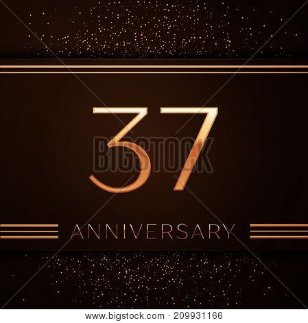Realistic Thirty seven Years Anniversary Celebration Logotype. Golden numbers and golden confetti on brown background. Colorful Vector template elements for your birthday party